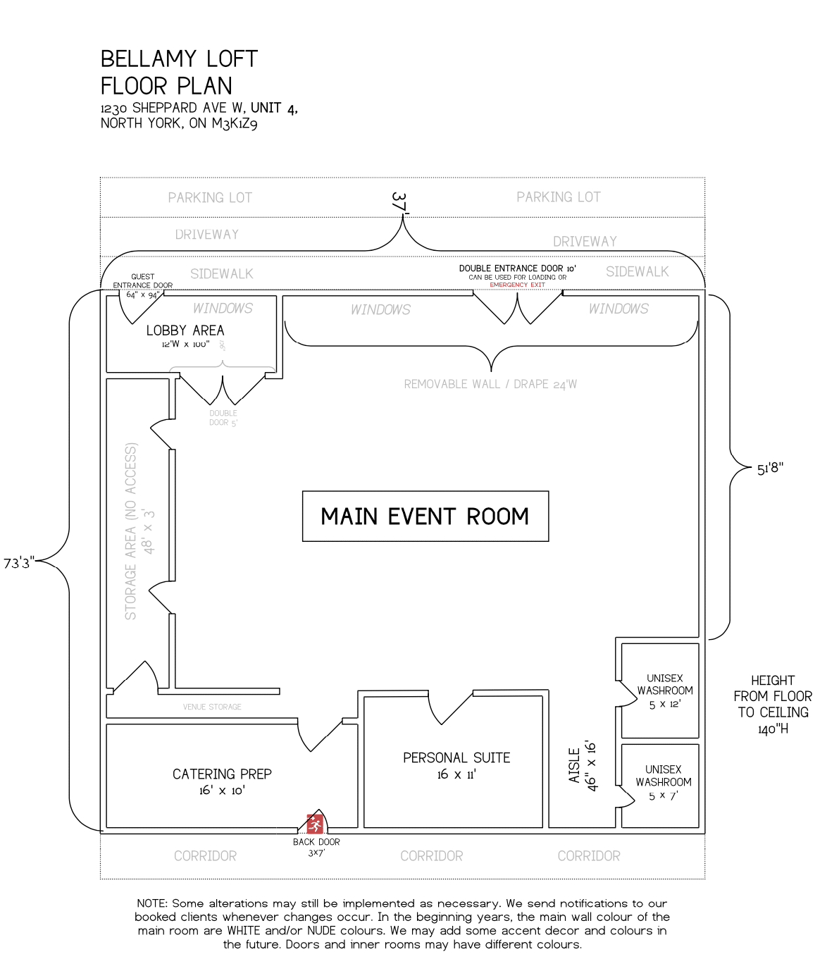 North York Venue Floor Plan