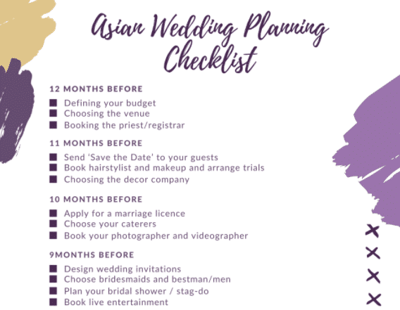 Asian wedding planning checklists and templates