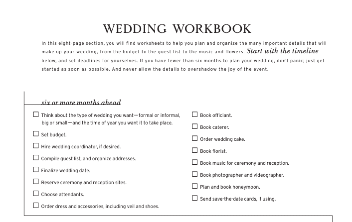 Martha Stewart Wedding Checklist