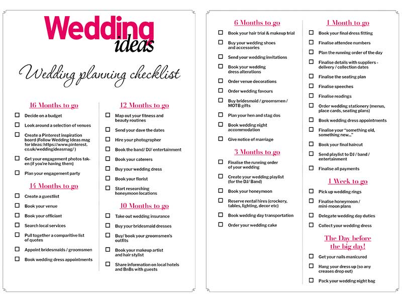 wedding planning checklists and templates
